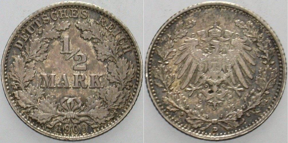 1/2 Mark 1909 D Kleinmünzen Patina, sehr schön - vorzüglich