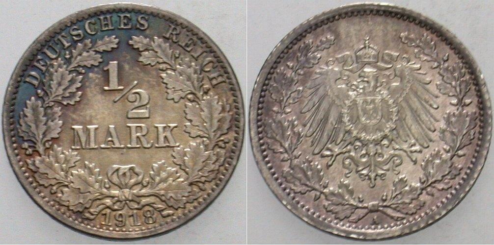 1/2 Mark 1918 A Kleinmünzen Patina, vorzüglich +