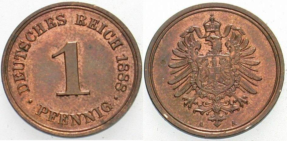 1 Pfennig 1888 A Kleinmünzen Patina, vorzüglich - Stempelglanz