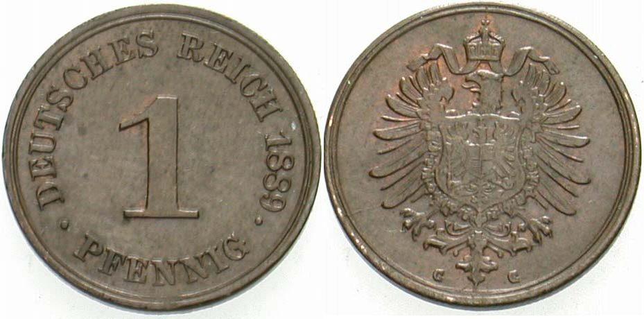 1 Pfennig 1889 G Kleinmünzen Patina, vorzüglich