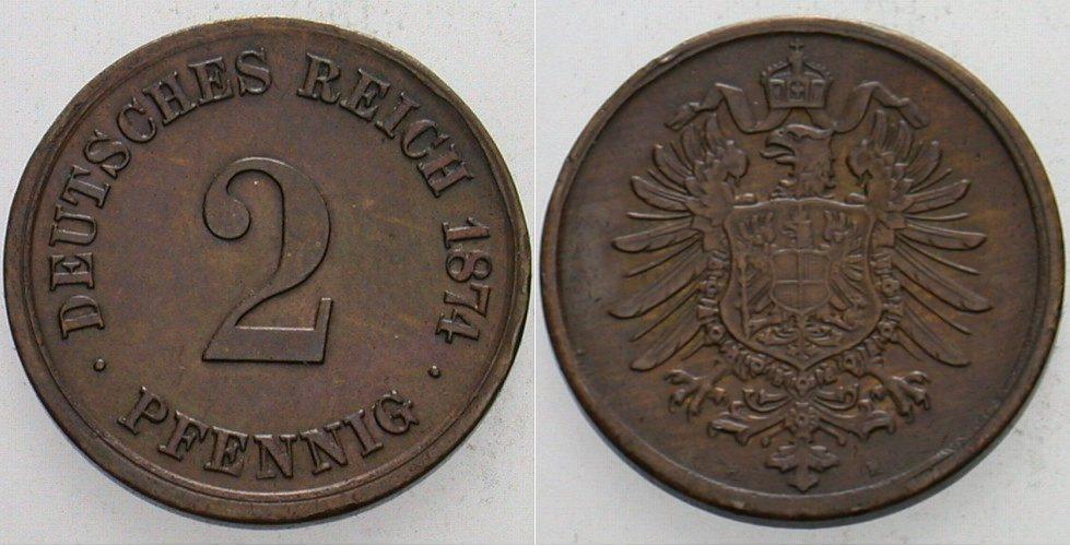 2 Pfennig 1874 H Kleinmünzen Patina, fast vorzüglich