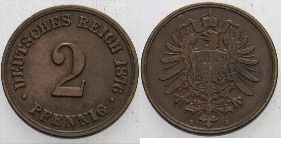 2 Pfennig 1876 B Kleinmünzen Gutes sehr schön