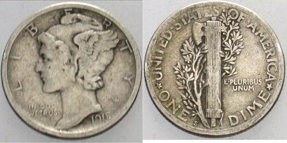 Dime 1918 S Vereinigte Staaten von Amerika Schön - sehr schön