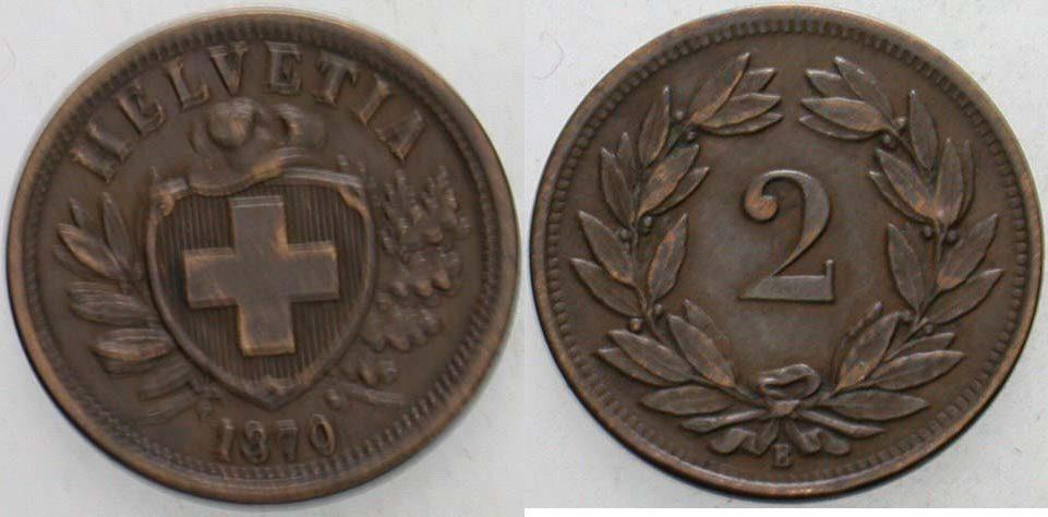 2 Rappen 1870 B Schweiz-Eidgenossenschaft Sehr schön