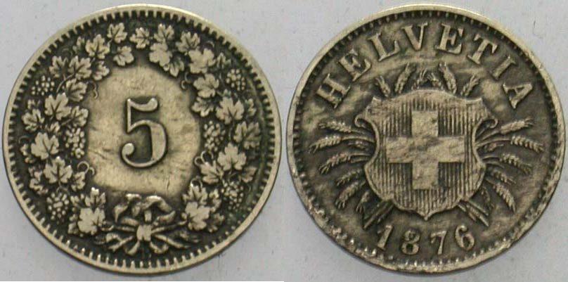5 Rappen 1876 B Schweiz-Eidgenossenschaft Fast sehr schön