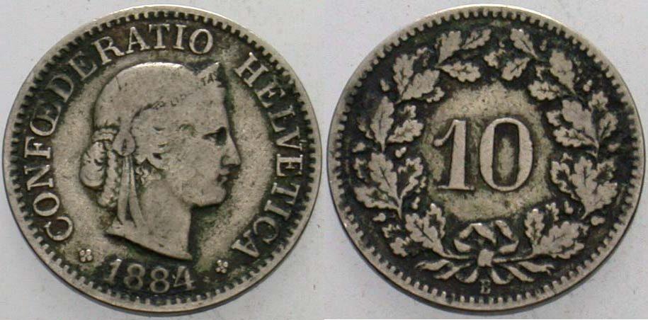10 Rappen 1884 B Schweiz-Eidgenossenschaft Sehr schön