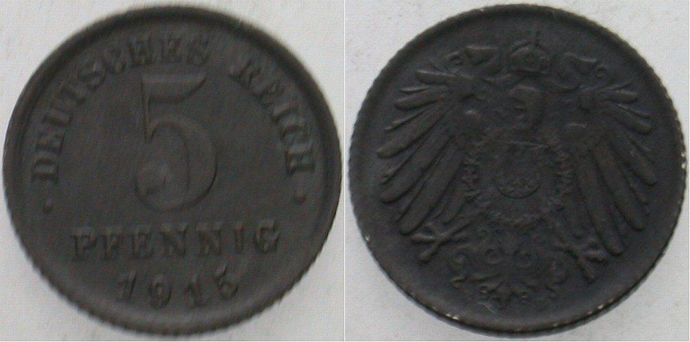 5 Pfennig 1915 E  Patina, vorzüglich