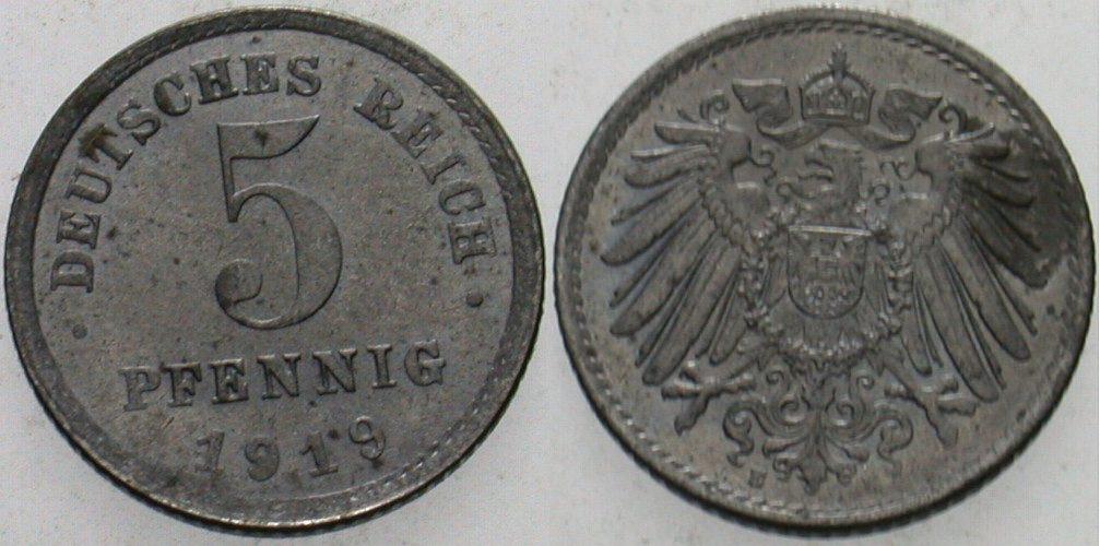 5 Pfennig 1919 E  Patina, vorzüglich - Stempelglanz
