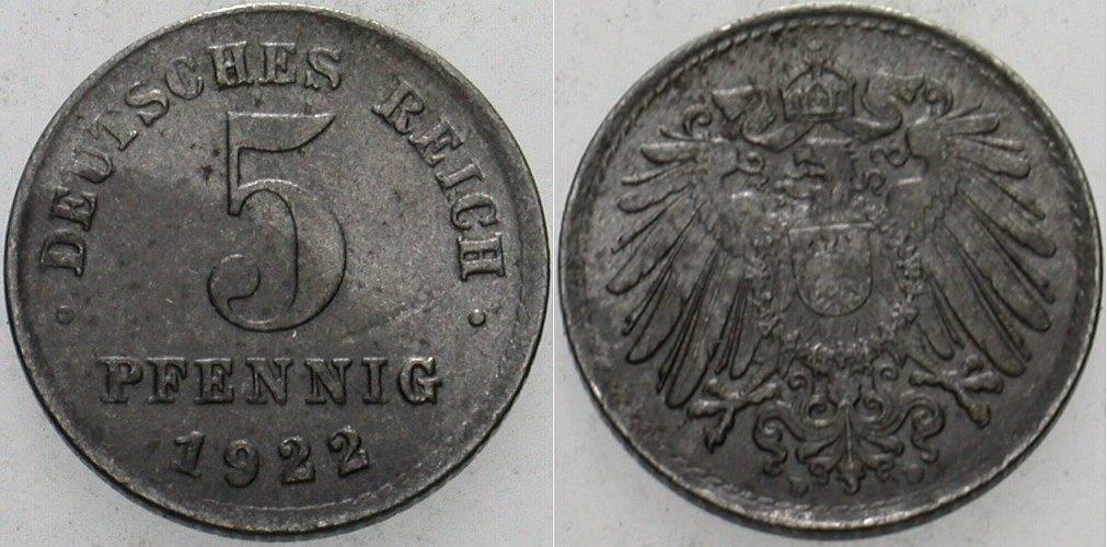 5 Pfennig 1922 D  Vorzüglich