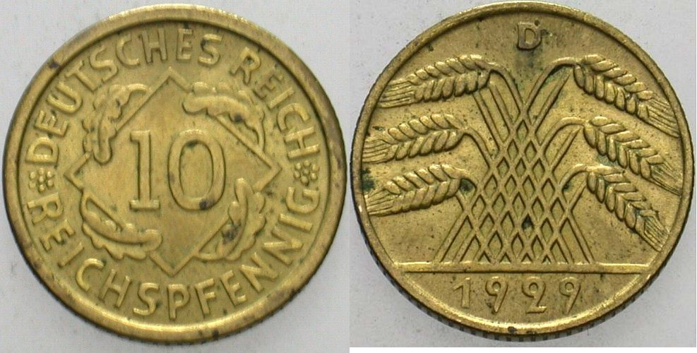 10 Reichspfennig 1929 D  Fleckige Patina, vorzüglich