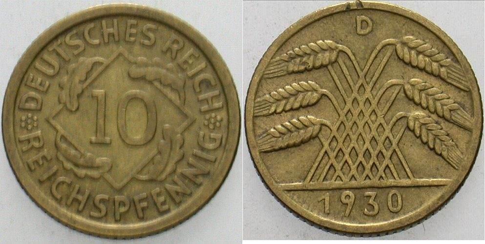 10 Reichspfennig 1930 D  Sehr schön