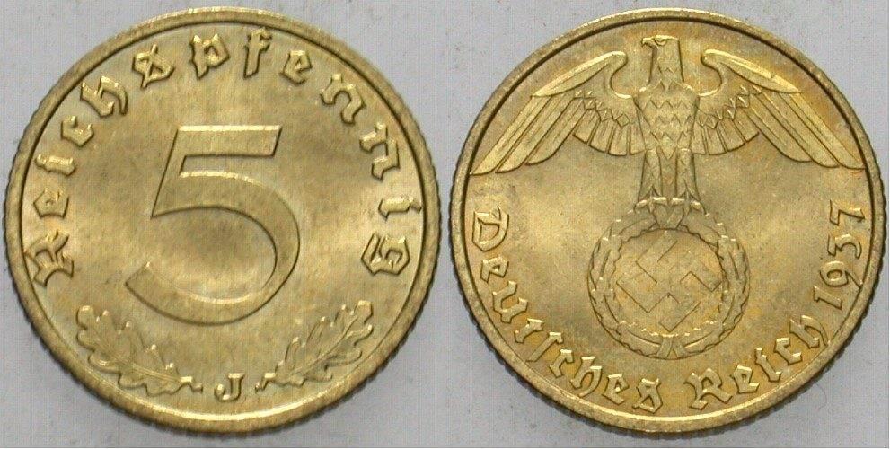 5 Reichspfennig 1937 J  Fast Stempelglanz