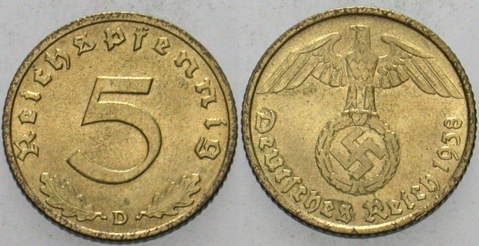 5 Reichspfennig 1938 D  Vorzüglich - Stempelglanz