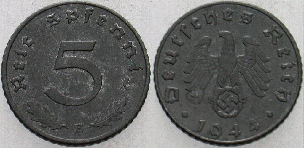 5 Reichspfennig 1944 E  Vorzüglich
