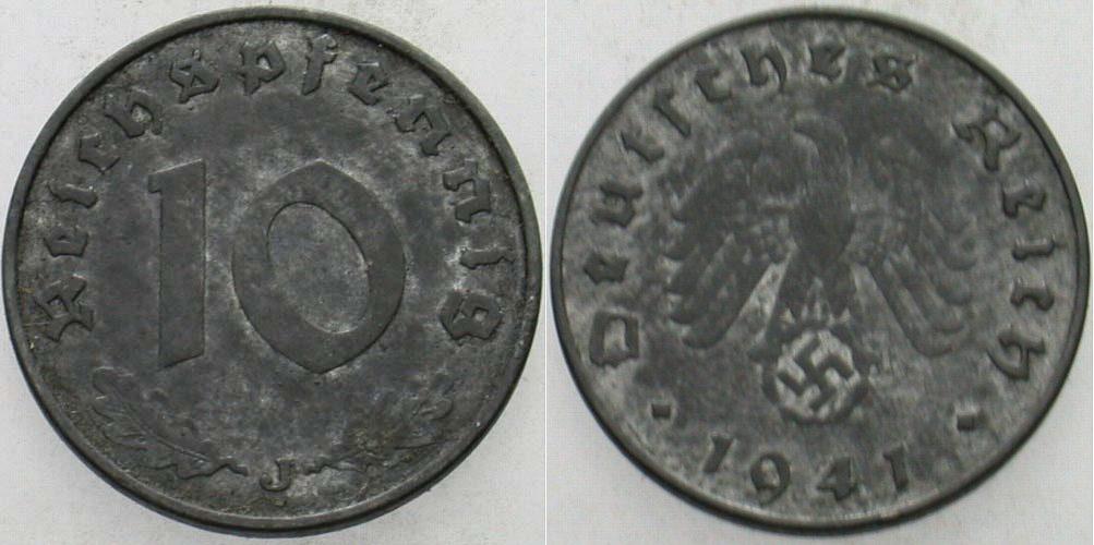 10 Reichspfennig 1941 J  Patina, vorzüglich