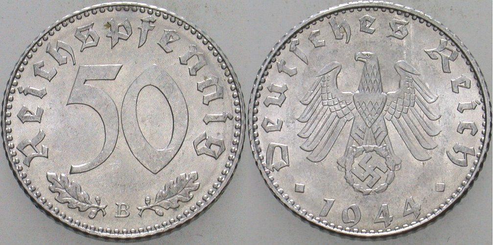 50 Reichspfennig 1944 B  Vorzüglich - Stempelglanz
