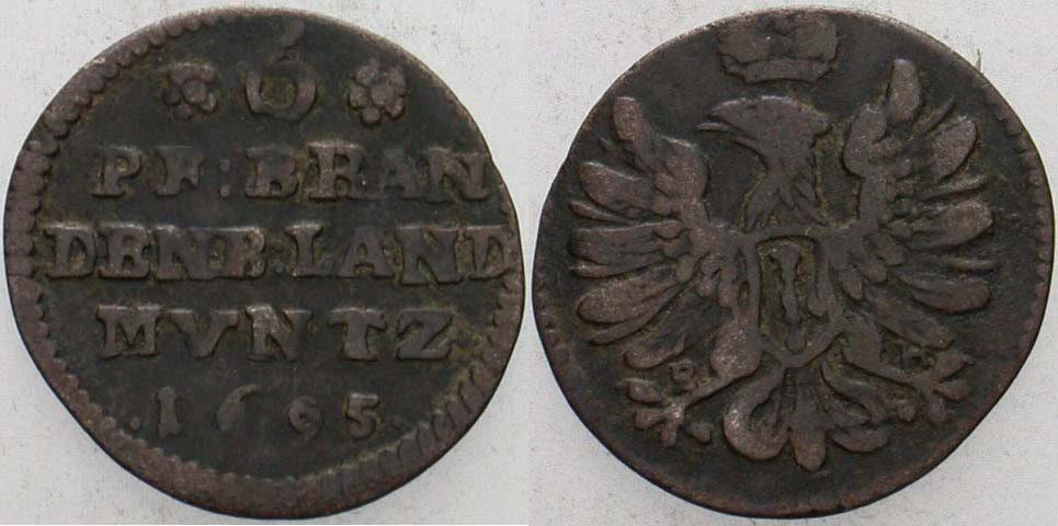 6 Pfennig 1695 BH-Minden Brandenburg-Preußen Friedrich III. 1688-1701. Schön - sehr schön