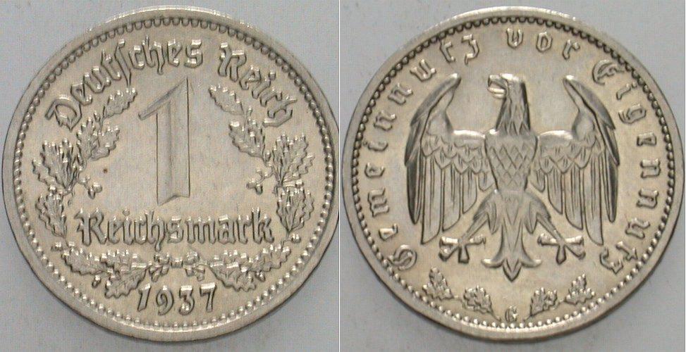 1 Reichsmark 1937 G  Vorzüglich
