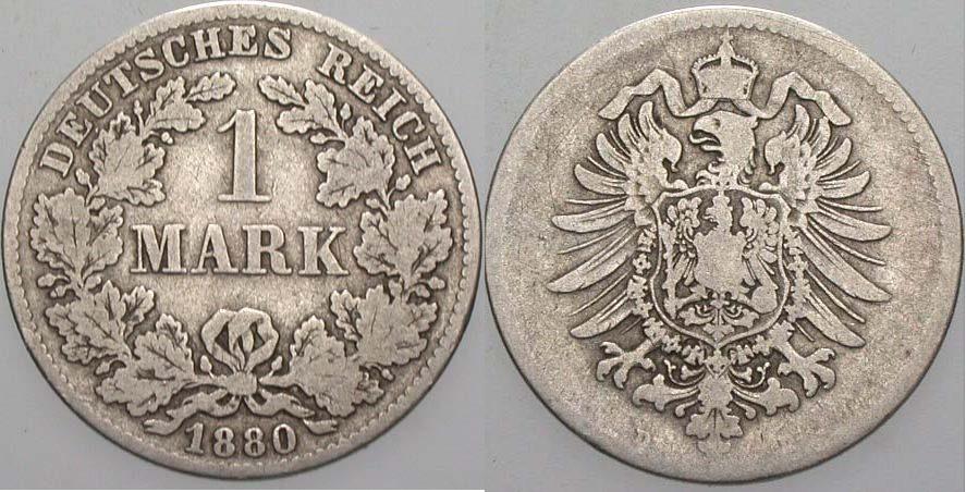 1 Mark 1880 D Kleinmünzen Schön
