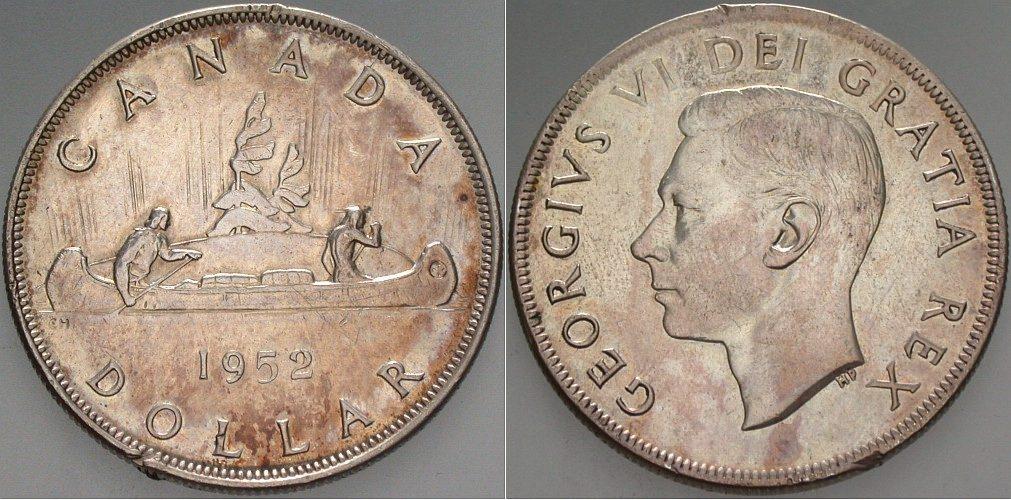 Dollar 1952 Kanada Kleine Randfehler, sehr schön +