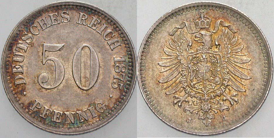50 Pfennig 1875 J Kleinmünzen Winz. Randfehler, vorzüglich - Stempelglanz
