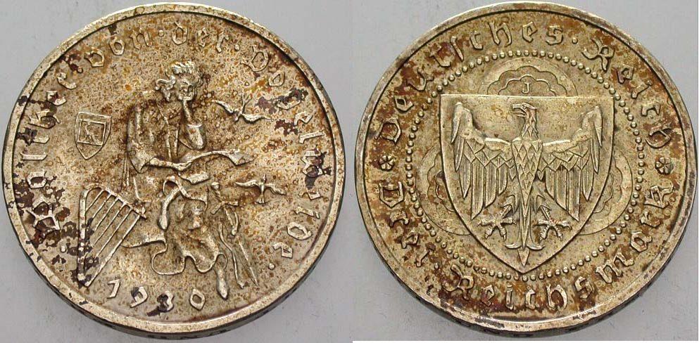 3 Reichsmark 1930 J  Patina, sehr schön - vorzüglich