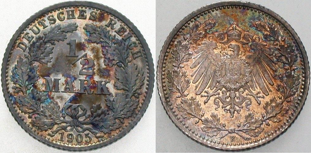 1/2 Mark 1905 F Kleinmünzen Fleckige Patina, vorzügliches Exemplar von polierter Platte