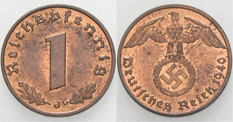 1 Reichspfennig 1940 J  Patina, vorzüglich