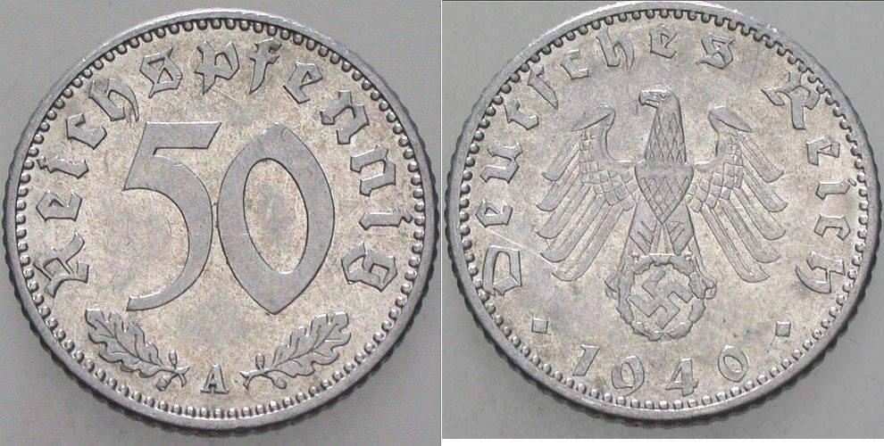 50 Reichspfennig 1940 A  Vorzüglich