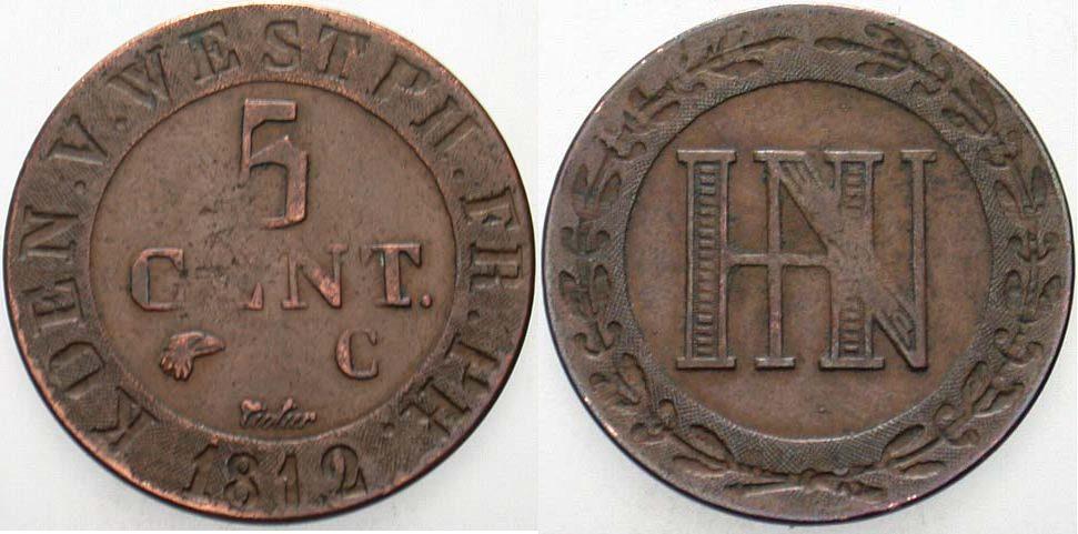 5 Centimes 1812 C Westfalen, Königreich Hieronymus Napoleon 1807-1813. Sehr schön