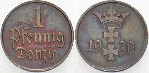 1 Pfennig 1930 A Danzig Patina, vorzüglich