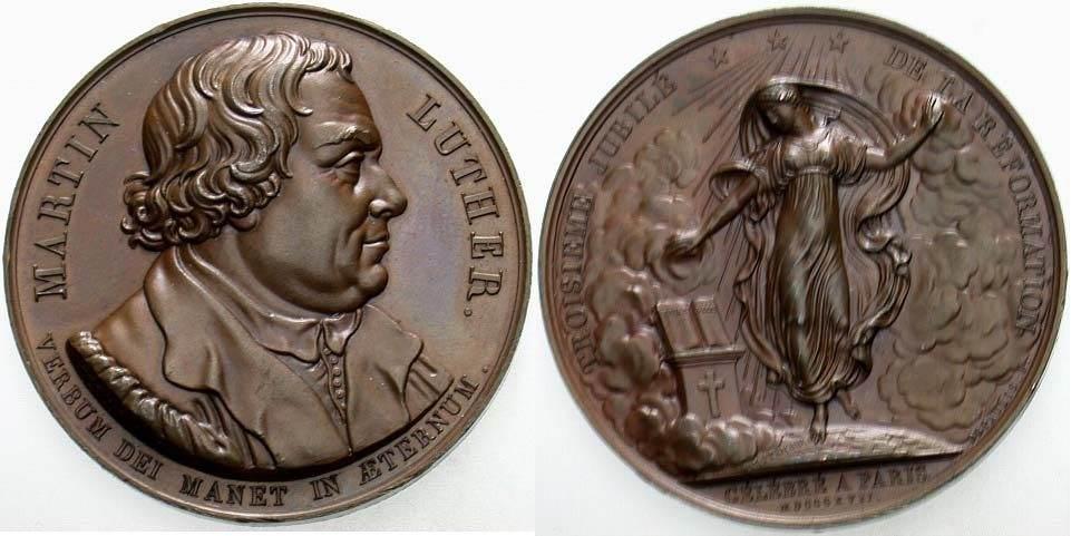 Bronzemedaille 1817 Reformation Winz. Randfehler, vorzüglich - Stempelglanz