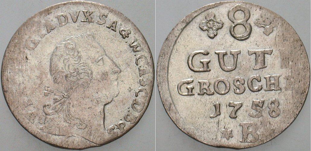8 Gute Groschen 1758 B Anhalt-Bernburg Victor Friedrich 1721-1765. Prägeschwäche, sehr schön
