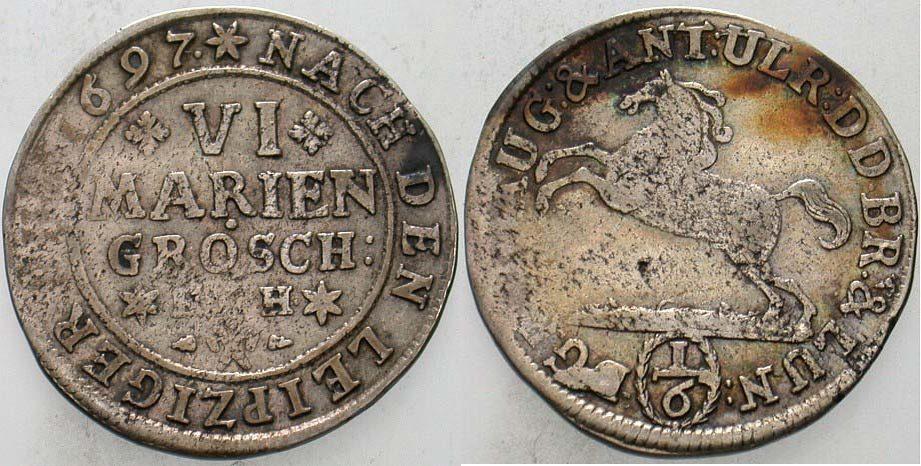 6 Mariengroschen 1697 HCH  ? Braunschweig-Wolfenbüttel Rudolf August und Anton Ulrich 1685-1704. Patina, min. Korr., fast sehr schön