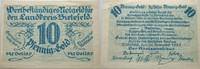 Das Papiernotgeld von Westfalen 10 Goldpfennig LANDKREIS BIELEFELD