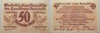 Das Papiernotgeld von Westfalen 50 Goldpfennig LANDKREIS BIELEFELD