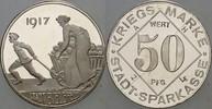 Silberabschlag zu 50 Pfennig 1917 Bielefel...