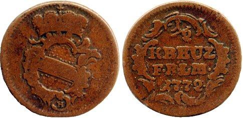 1/2 Kreuzer 1772 BADEN-DURLACH Karl Friedrich (1738-1811) s-ss, Druckstelle