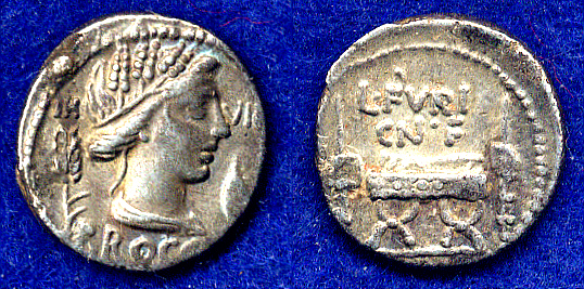 Denar 63 v. Chr. Römische Republik L. Furius Cn. f. Brocchus vz, schöne Patina