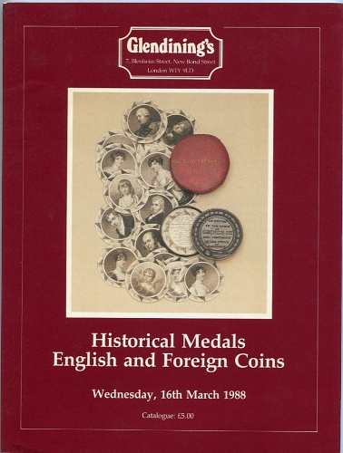 Auktions-Katalog 1988 Glendinings's / London Historical Medals, English and Foreign Coins sehr gut