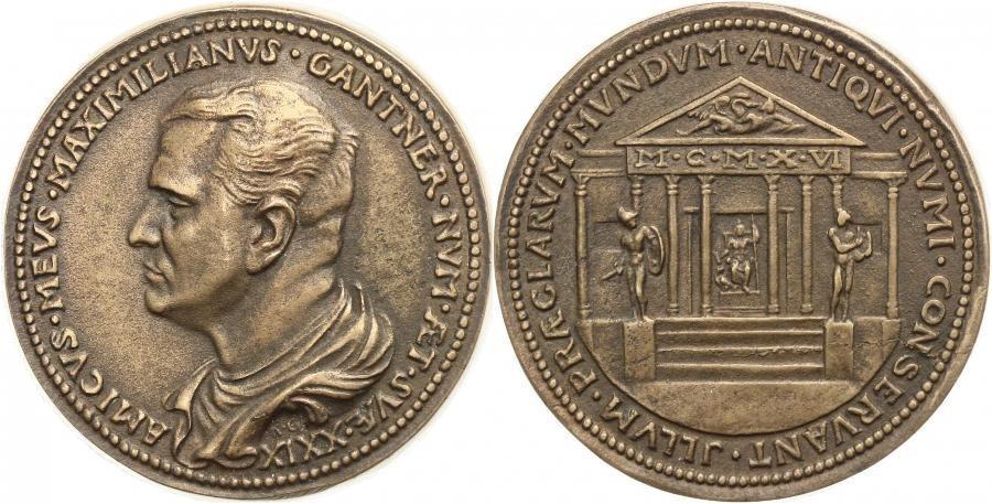 Bronzegussmedaille 1916 Goetz-Medaillen 29. Geburtstag von Numismatiker Maximilian Gantner vz