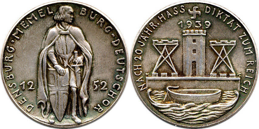 Silbermedaille 1939 Goetz-Medaillen Heimkehr des Memel-Gebietes vz