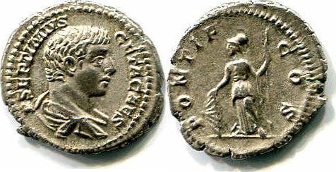Denar Römisches Kaiserreich Geta als Caesar (198-209) ss-vz