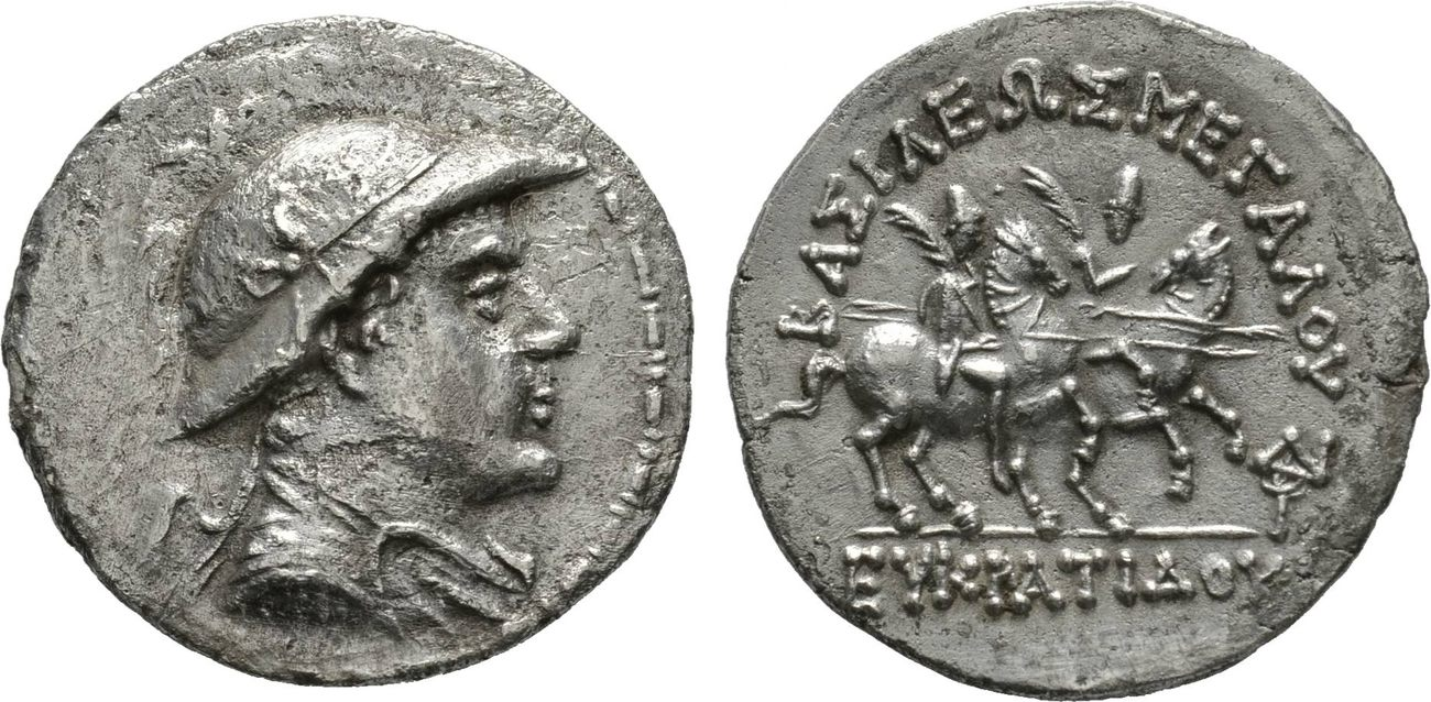 Tetradrachme Baktrien Eukratides I. (170-145 v.Chr.) ss-vz, Avers bearbeitet