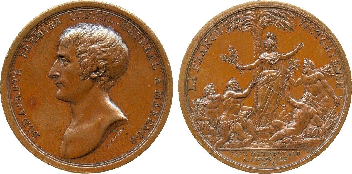 Bronzemedaille 1801 NAPOLEON UND SEINE ZEIT Napoleon Bonaparte / Frieden v. Lunéville 1801 vz, winz. Randf., Rv. kl. Stempelsprung