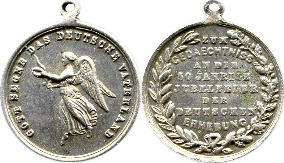 kleine tragbare Nickelmedaille o. J. (1863) Deutsches Reich 50 Jahrfeier der Befreiungskriege ss-vz