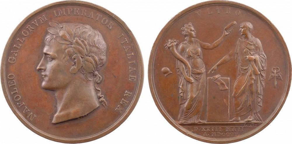Bronzemedaille 1805 NAPOLEON UND SEINE ZEIT Napoleon I. / Krönung in Mailand ss-vz