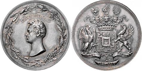 Silbermedaille o.J. (1815) NAPOLEON UND SEINE ZEIT Die Sieger bei Waterloo / Gneisenau vz-st, feine Patina