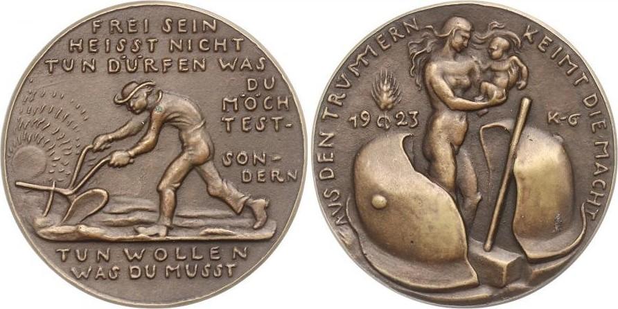 "Bronzegussmedaille 1923 Goetz-Medaillen ""Wiederaufbau"" vz-gussfrisch"