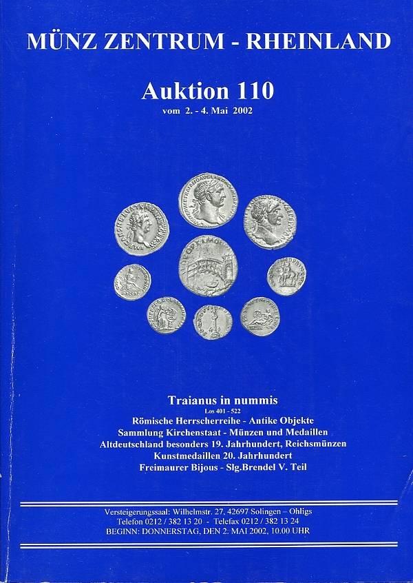 Auktionskatalog 110 2002 Münz-Zentrum / Solingen u.a. Traianus in nummis (121 Lose), Freimaurer sehr gut, Gebrauchsspuren
